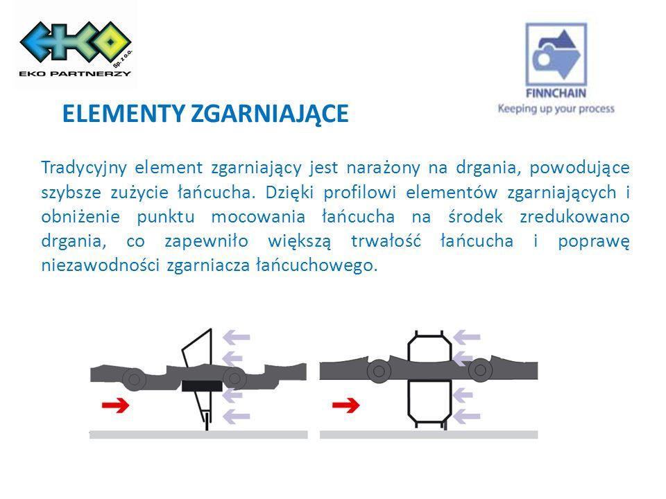 ŁAŃCUCH ZGARNIACZA Opatentowany stożkowy sworzeń łańcucha: - zastosowanie stożkowego sworznia zmniejsza o 50% wymaganą siłę do utrzymania łańcucha na linii przebiegu, - duża żywotność łańcucha.