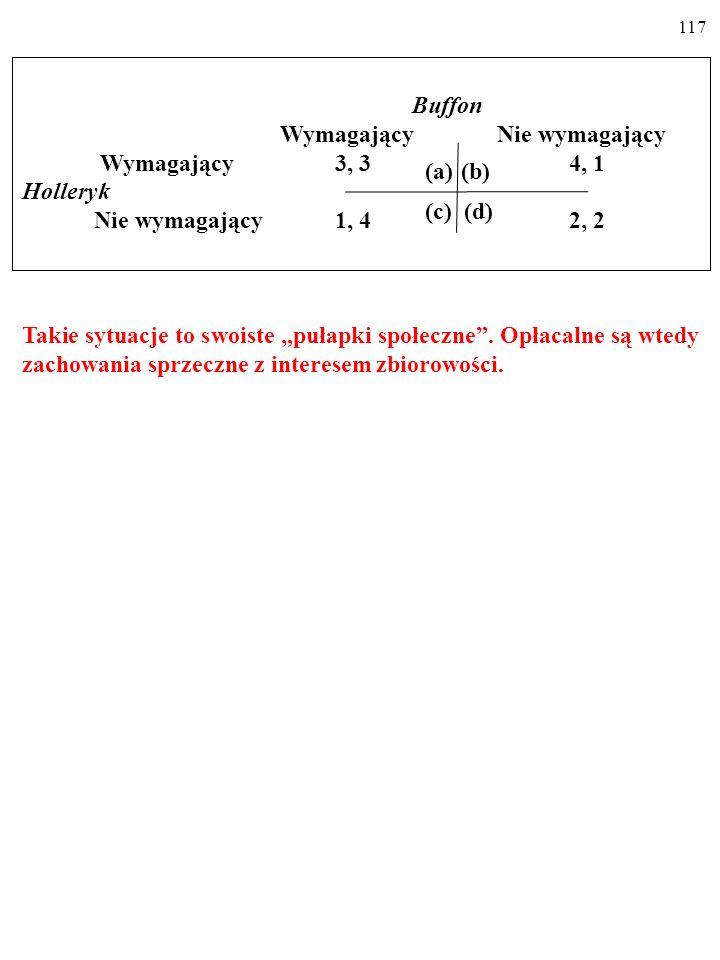 116 Zauważ, że np. sytuacja a, choć lepsza dla obu graczy od sytuacji d, nie jest równowagą Nasha. Równowaga Nasha w wielu grach (I W ŻYCIU!) bywa wyn