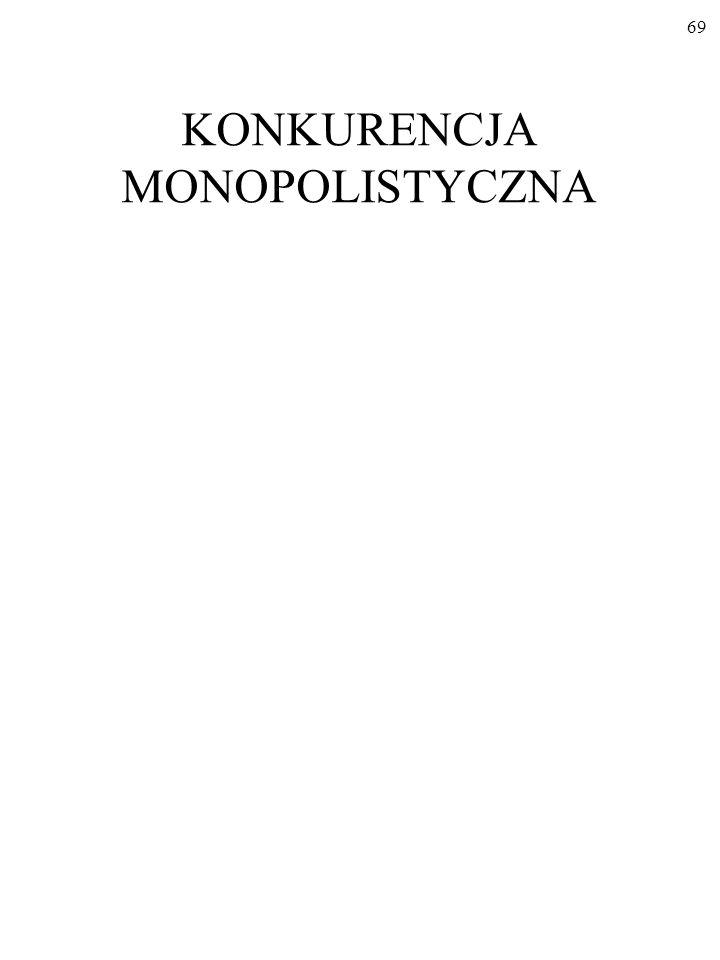 68 Oto standardowa klasyfikacja rodzajów (form) rynku: dwa mo- dele skrajne to KONKURENCJA DOSKONAŁA i MONOPOL Dwa modele pośrednie to KONKURENCJA MON