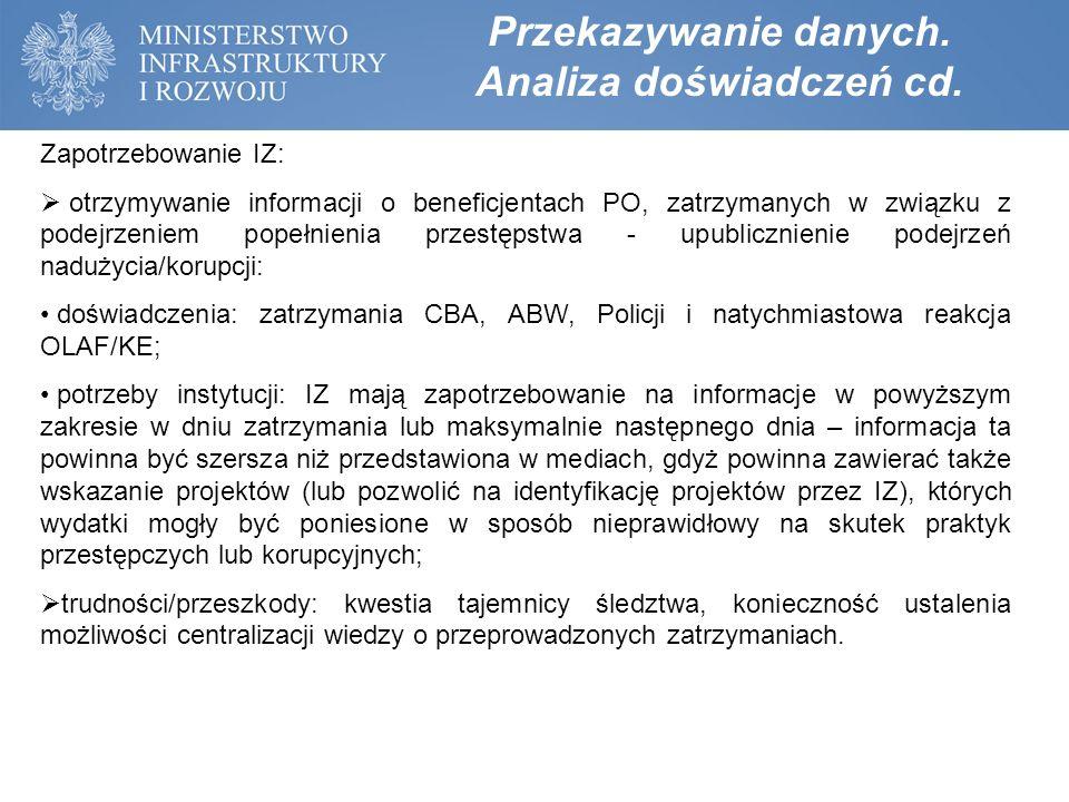 Zapotrzebowanie IZ:  otrzymywanie informacji o beneficjentach PO, zatrzymanych w związku z podejrzeniem popełnienia przestępstwa - upublicznienie pod