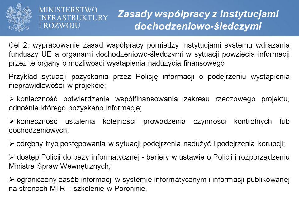 Cel 2: wypracowanie zasad współpracy pomiędzy instytucjami systemu wdrażania funduszy UE a organami dochodzeniowo-śledczymi w sytuacji powzięcia infor