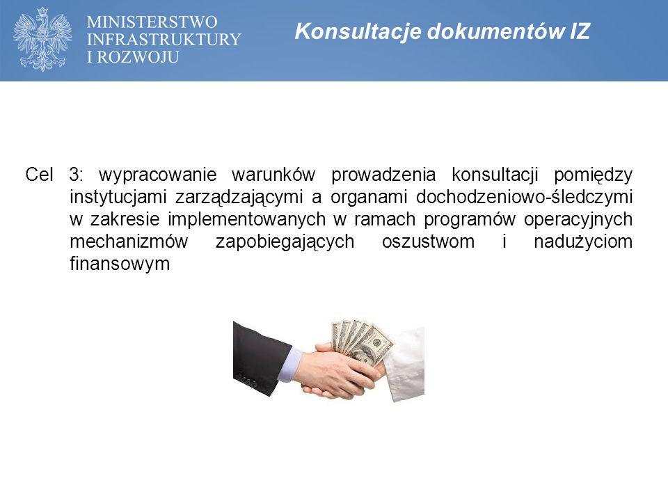 Cel 3: wypracowanie warunków prowadzenia konsultacji pomiędzy instytucjami zarządzającymi a organami dochodzeniowo-śledczymi w zakresie implementowany