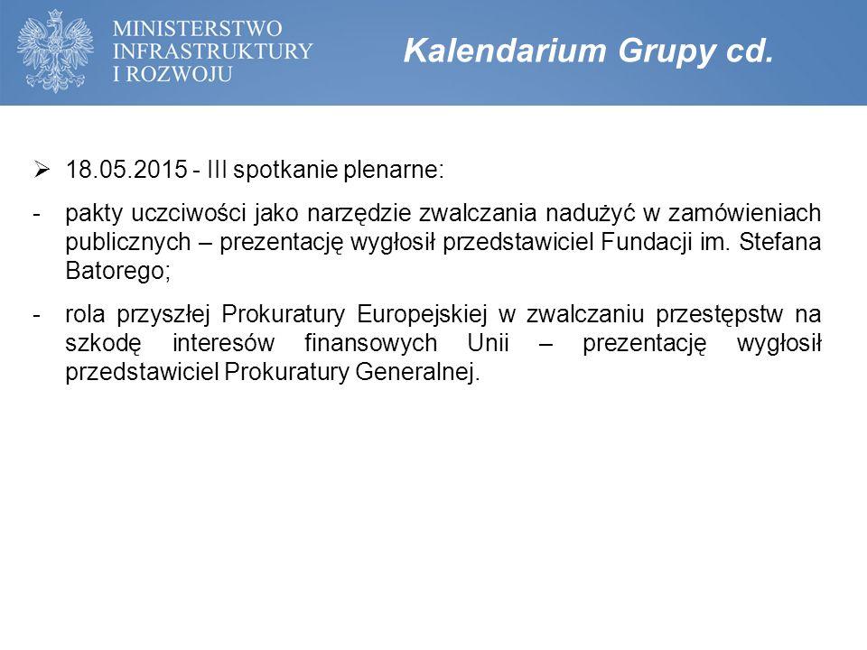 Kalendarium Grupy cd.  18.05.2015 - III spotkanie plenarne: -pakty uczciwości jako narzędzie zwalczania nadużyć w zamówieniach publicznych – prezenta