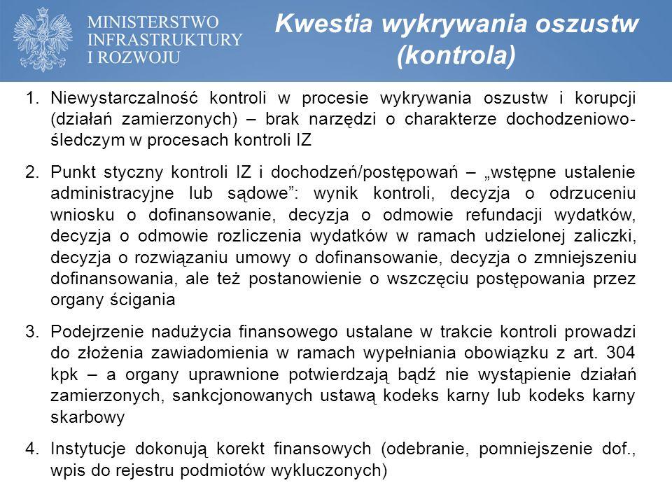 Kwestia wykrywania oszustw (kontrola) 1.Niewystarczalność kontroli w procesie wykrywania oszustw i korupcji (działań zamierzonych) – brak narzędzi o c