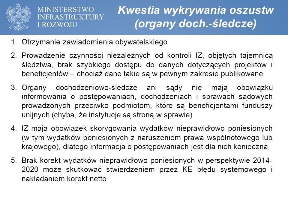Kwestia wykrywania oszustw (organy doch.-śledcze) 1.Otrzymanie zawiadomienia obywatelskiego 2.Prowadzenie czynności niezależnych od kontroli IZ, objęt