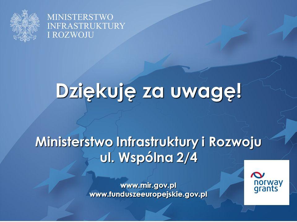 Dziękuję za uwagę! Ministerstwo Infrastruktury i Rozwoju ul. Wspólna 2/4 www.mir.gov.plwww.funduszeeuropejskie.gov.pl