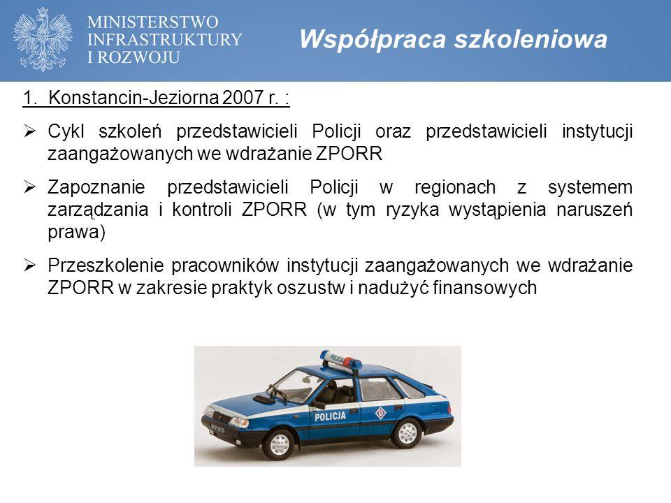 Współpraca szkoleniowa 1. Konstancin-Jeziorna 2007 r. :  Cykl szkoleń przedstawicieli Policji oraz przedstawicieli instytucji zaangażowanych we wdraż