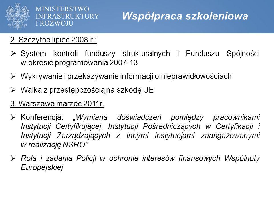 Kalendarium prac Grupy Spotkania Grupy roboczej do spraw przeciwdziałania nadużyciom finansowym w funduszach polityki spójności:  13.01.2015 - I spotkanie plenarne (podjęcie uchwały 1/2015 ws.