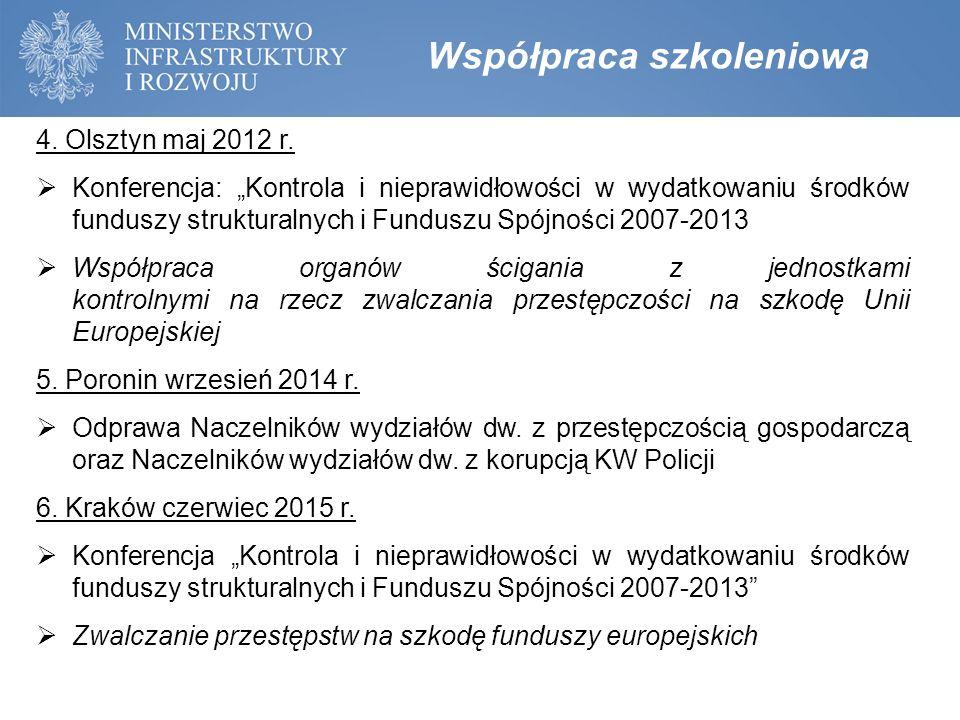 """4. Olsztyn maj 2012 r.  Konferencja: """"Kontrola i nieprawidłowości w wydatkowaniu środków funduszy strukturalnych i Funduszu Spójności 2007-2013  Wsp"""
