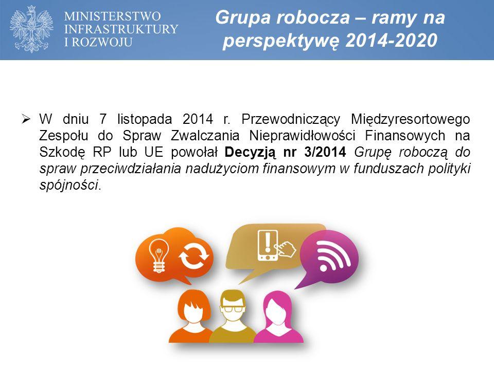 Grupa robocza – ramy na perspektywę 2014-2020 Podmioty tworzące grupę (wymienione w Decyzji) MIiRMFMSWMSKGPPGCBAUOKiKUZP KSSIP- 2 reprezentan tów w charakterze ekspertów