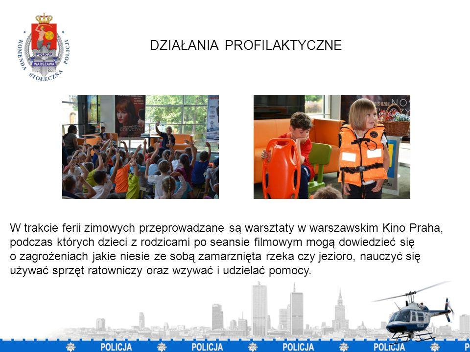 5 W trakcie ferii zimowych przeprowadzane są warsztaty w warszawskim Kino Praha, podczas których dzieci z rodzicami po seansie filmowym mogą dowiedzieć się o zagrożeniach jakie niesie ze sobą zamarznięta rzeka czy jezioro, nauczyć się używać sprzęt ratowniczy oraz wzywać i udzielać pomocy.