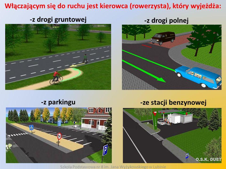 Włączającym się do ruchu jest kierowca (rowerzysta), który wyjeżdża: -z drogi gruntowej -z drogi polnej -z parkingu -ze stacji benzynowej Szkoła Podst