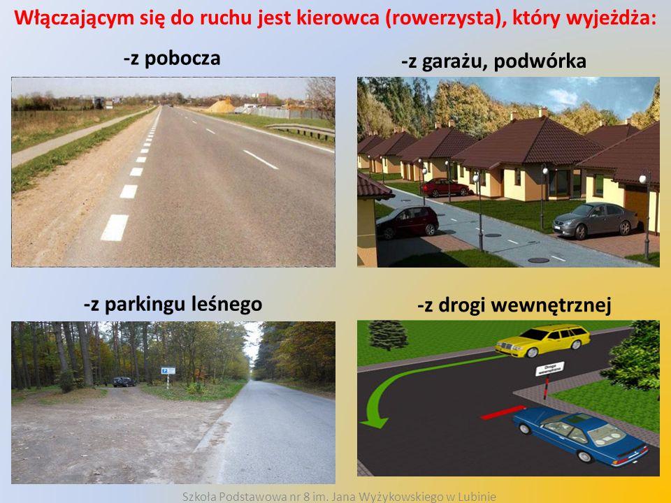 Włączającym się do ruchu jest kierowca (rowerzysta), który wyjeżdża: -z pobocza -z garażu, podwórka -z parkingu leśnego -z drogi wewnętrznej Szkoła Po