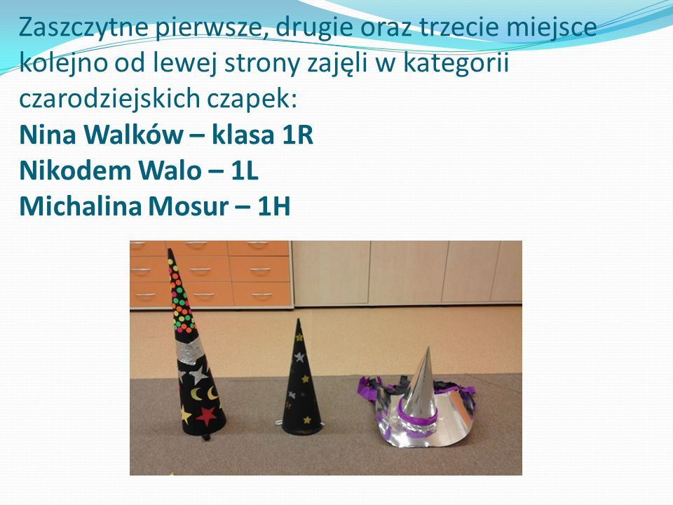 Zaszczytne pierwsze, drugie oraz trzecie miejsce kolejno od lewej strony zajęli w kategorii czarodziejskich czapek: Nina Walków – klasa 1R Nikodem Walo – 1L Michalina Mosur – 1H
