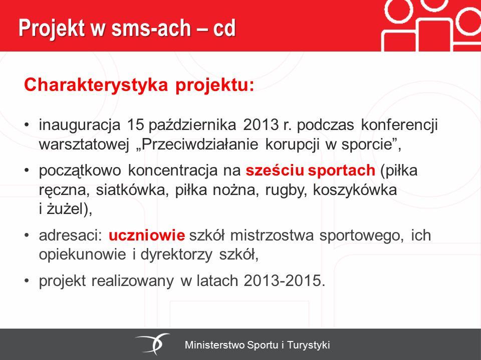 Projekt w sms-ach – cd Charakterystyka projektu: Ministerstwo Sportu i Turystyki inauguracja 15 października 2013 r. podczas konferencji warsztatowej