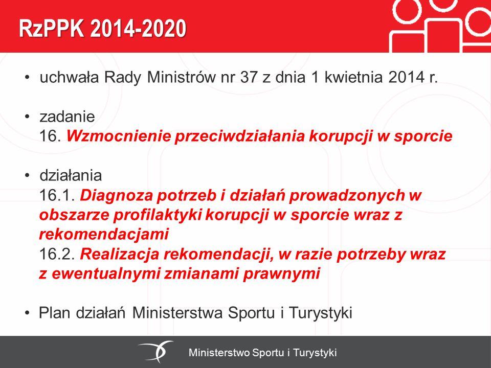 RzPPK 2014-2020 Ministerstwo Sportu i Turystyki uchwała Rady Ministrów nr 37 z dnia 1 kwietnia 2014 r. zadanie 16. Wzmocnienie przeciwdziałania korupc