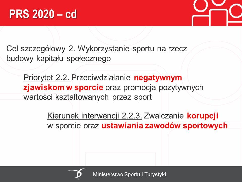 PRS 2020 – cd Ministerstwo Sportu i Turystyki Priorytet 2.2. Przeciwdziałanie negatywnym zjawiskom w sporcie oraz promocja pozytywnych wartości kształ