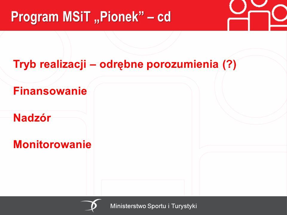 """Program MSiT """"Pionek"""" – cd Ministerstwo Sportu i Turystyki Tryb realizacji – odrębne porozumienia (?) Finansowanie Nadzór Monitorowanie"""
