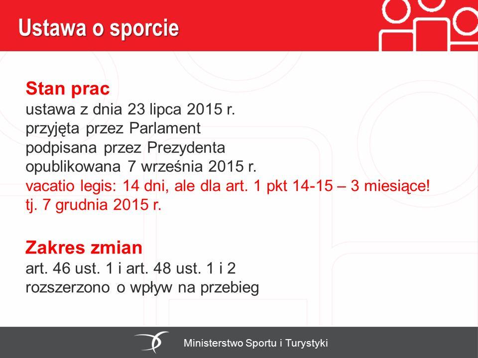 Ustawa o sporcie Ministerstwo Sportu i Turystyki Stan prac ustawa z dnia 23 lipca 2015 r. przyjęta przez Parlament podpisana przez Prezydenta opubliko