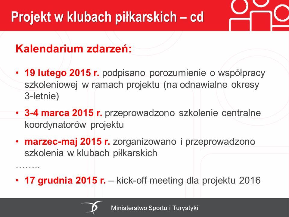 Projekt w klubach piłkarskich – cd Kalendarium zdarzeń: 19 lutego 2015 r. podpisano porozumienie o współpracy szkoleniowej w ramach projektu (na odnaw