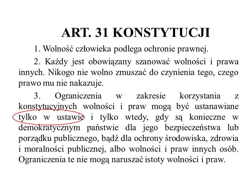 ART. 31 KONSTYTUCJI 1. Wolność człowieka podlega ochronie prawnej. 2. Każdy jest obowiązany szanować wolności i prawa innych. Nikogo nie wolno zmuszać