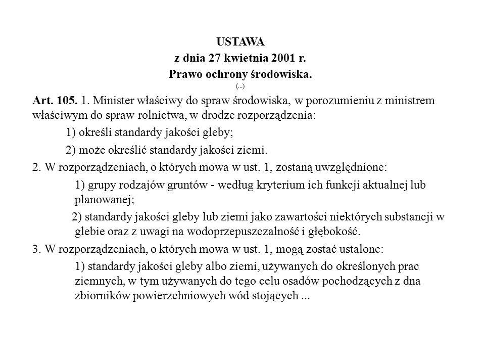 USTAWA z dnia 27 kwietnia 2001 r. Prawo ochrony środowiska. (...) Art. 105. 1. Minister właściwy do spraw środowiska, w porozumieniu z ministrem właśc