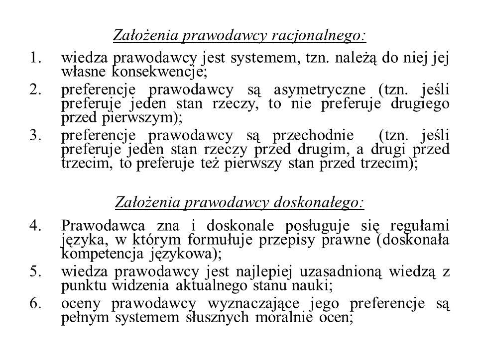 Założenia prawodawcy racjonalnego: 1. wiedza prawodawcy jest systemem, tzn. należą do niej jej własne konsekwencje; 2. preferencje prawodawcy są asyme