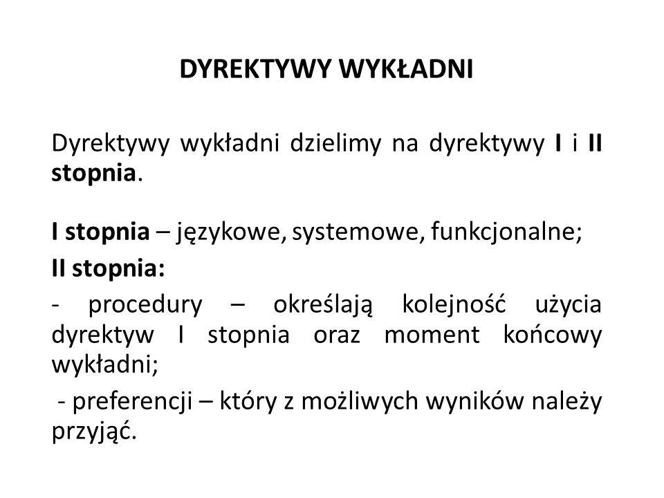 DYREKTYWY WYKŁADNI Dyrektywy wykładni dzielimy na dyrektywy I i II stopnia. I stopnia – językowe, systemowe, funkcjonalne; II stopnia: - procedury – o
