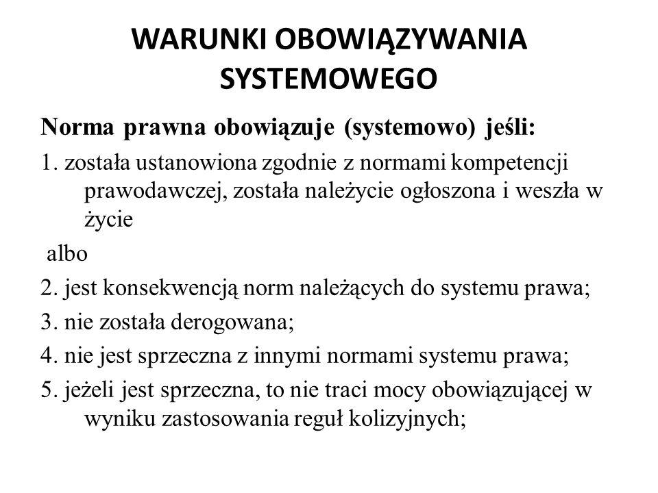 WARUNKI OBOWIĄZYWANIA SYSTEMOWEGO Norma prawna obowiązuje (systemowo) jeśli: 1. została ustanowiona zgodnie z normami kompetencji prawodawczej, został