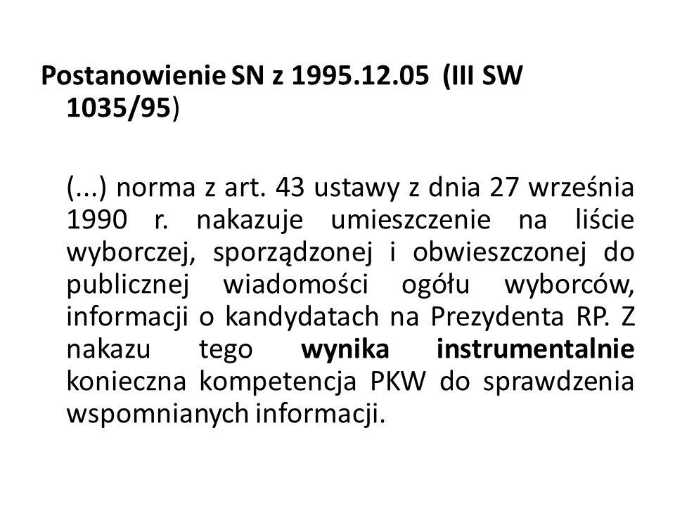 Postanowienie SN z 1995.12.05 (III SW 1035/95) (...) norma z art. 43 ustawy z dnia 27 września 1990 r. nakazuje umieszczenie na liście wyborczej, spor