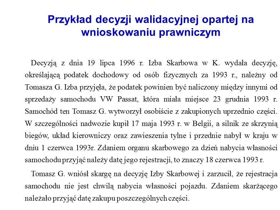 Przykład decyzji walidacyjnej opartej na wnioskowaniu prawniczym Decyzją z dnia 19 lipca 1996 r. Izba Skarbowa w K. wydała decyzję, określającą podate