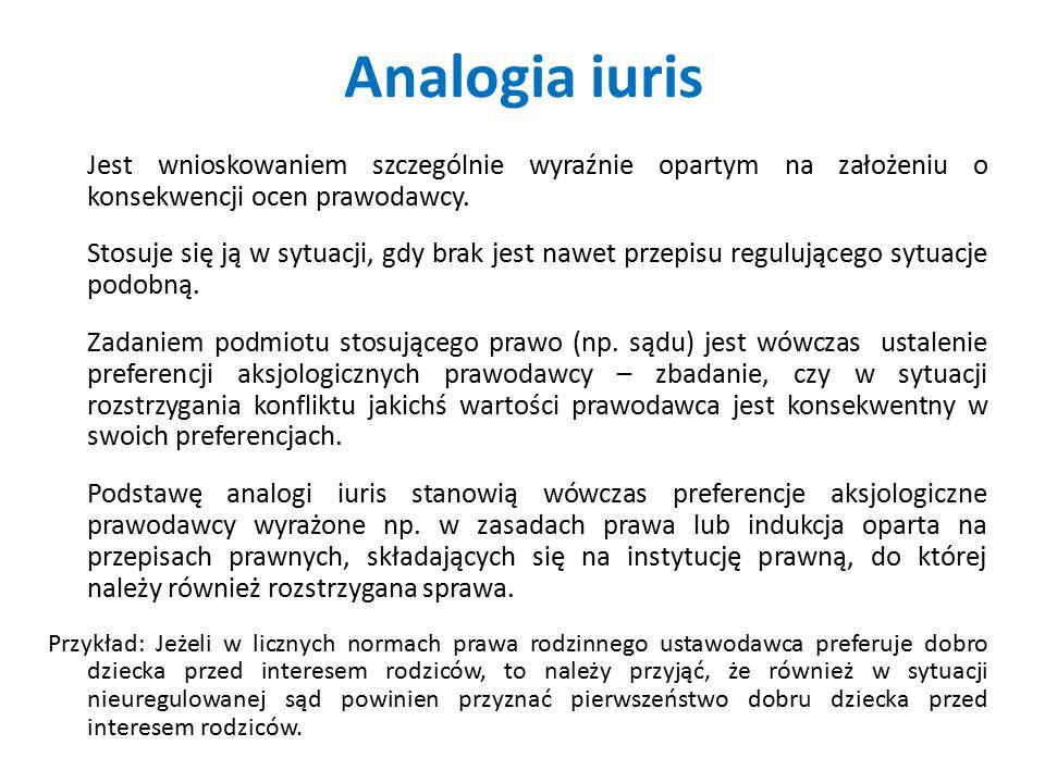 Analogia iuris Jest wnioskowaniem szczególnie wyraźnie opartym na założeniu o konsekwencji ocen prawodawcy. Stosuje się ją w sytuacji, gdy brak jest n