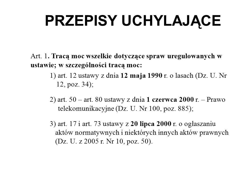 PRZEPISY UCHYLAJĄCE Art.1.