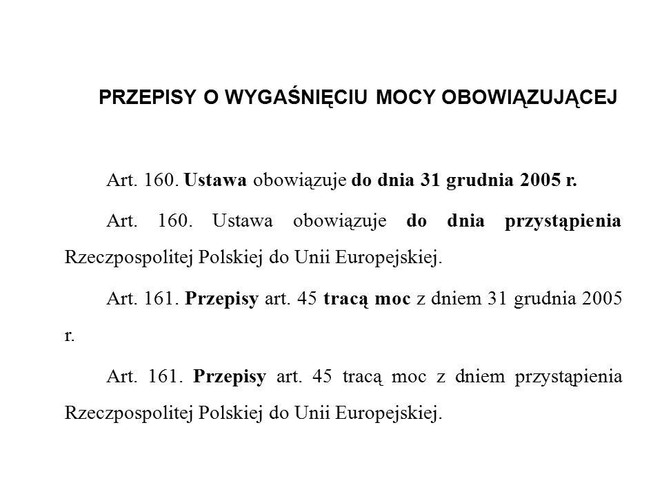 PRZEPISY O WYGAŚNIĘCIU MOCY OBOWIĄZUJĄCEJ Art.160.