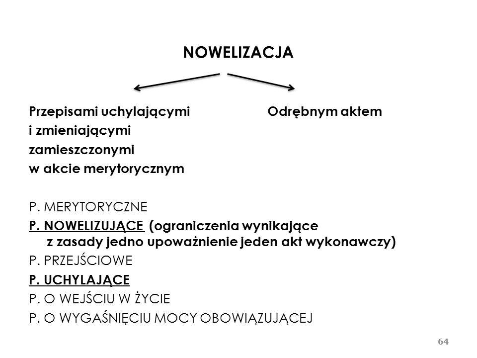 NOWELIZACJA Przepisami uchylającymi Odrębnym aktem i zmieniającymi zamieszczonymi w akcie merytorycznym P.