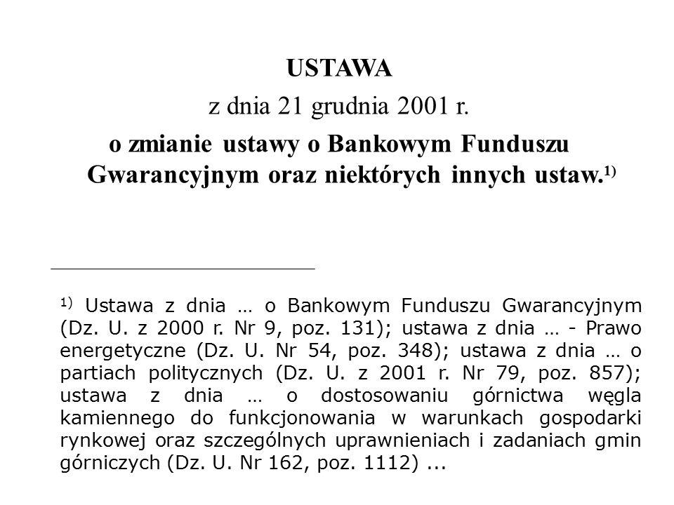 USTAWA z dnia 21 grudnia 2001 r. o zmianie ustawy o Bankowym Funduszu Gwarancyjnym oraz niektórych innych ustaw. 1) 1) Ustawa z dnia … o Bankowym Fund