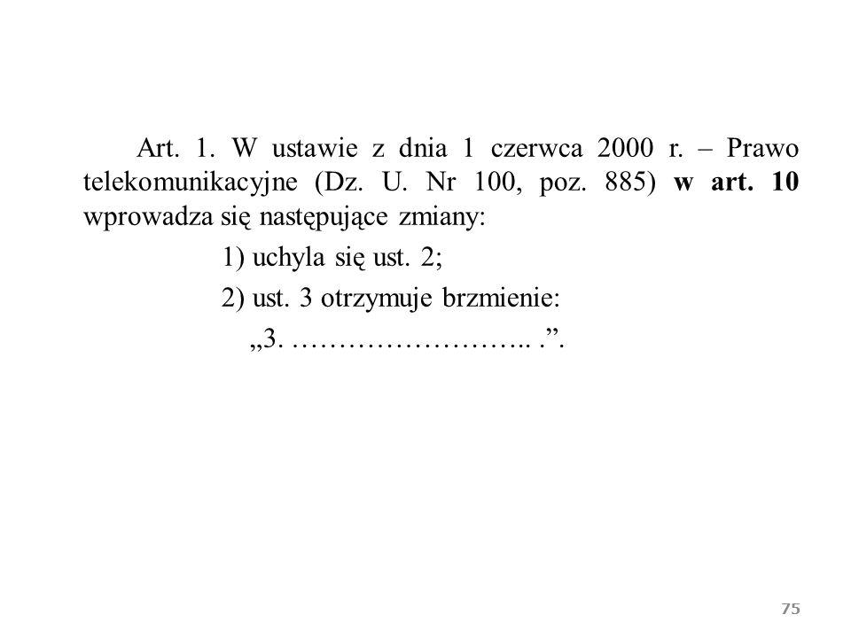 Art. 1. W ustawie z dnia 1 czerwca 2000 r. – Prawo telekomunikacyjne (Dz. U. Nr 100, poz. 885) w art. 10 wprowadza się następujące zmiany: 1) uchyla s