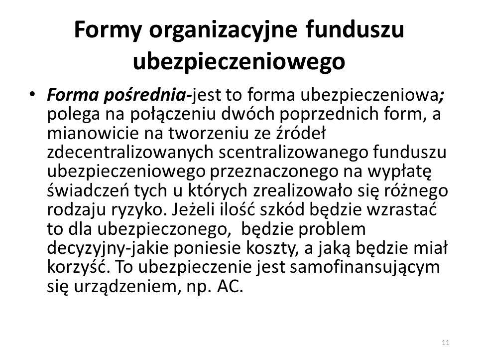 Formy organizacyjne funduszu ubezpieczeniowego Forma pośrednia-jest to forma ubezpieczeniowa; polega na połączeniu dwóch poprzednich form, a mianowicie na tworzeniu ze źródeł zdecentralizowanych scentralizowanego funduszu ubezpieczeniowego przeznaczonego na wypłatę świadczeń tych u których zrealizowało się różnego rodzaju ryzyko.
