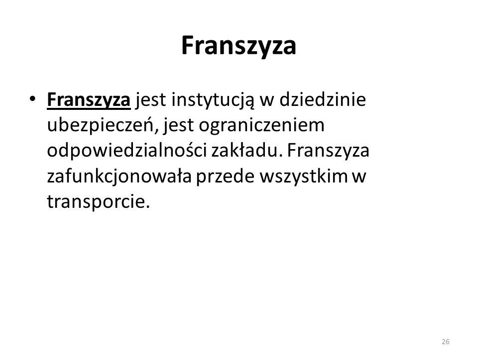 Franszyza Franszyza jest instytucją w dziedzinie ubezpieczeń, jest ograniczeniem odpowiedzialności zakładu.