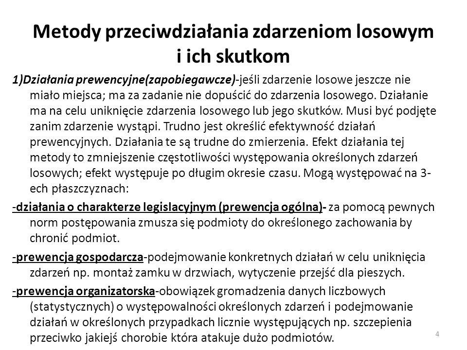 Metody przeciwdziałania zdarzeniom losowym i ich skutkom 1)Działania prewencyjne(zapobiegawcze)-jeśli zdarzenie losowe jeszcze nie miało miejsca; ma za zadanie nie dopuścić do zdarzenia losowego.