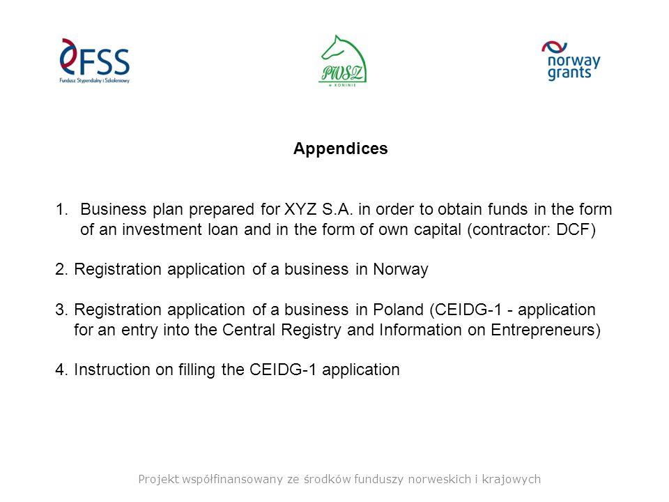 Projekt współfinansowany ze środków funduszy norweskich i krajowych Appendices 1.Business plan prepared for XYZ S.A.