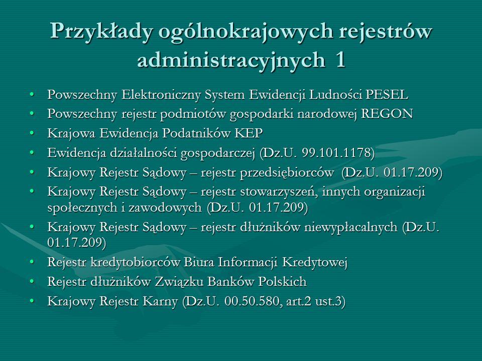 Przykłady ogólnokrajowych rejestrów administracyjnych 1 Powszechny Elektroniczny System Ewidencji Ludności PESELPowszechny Elektroniczny System Ewiden