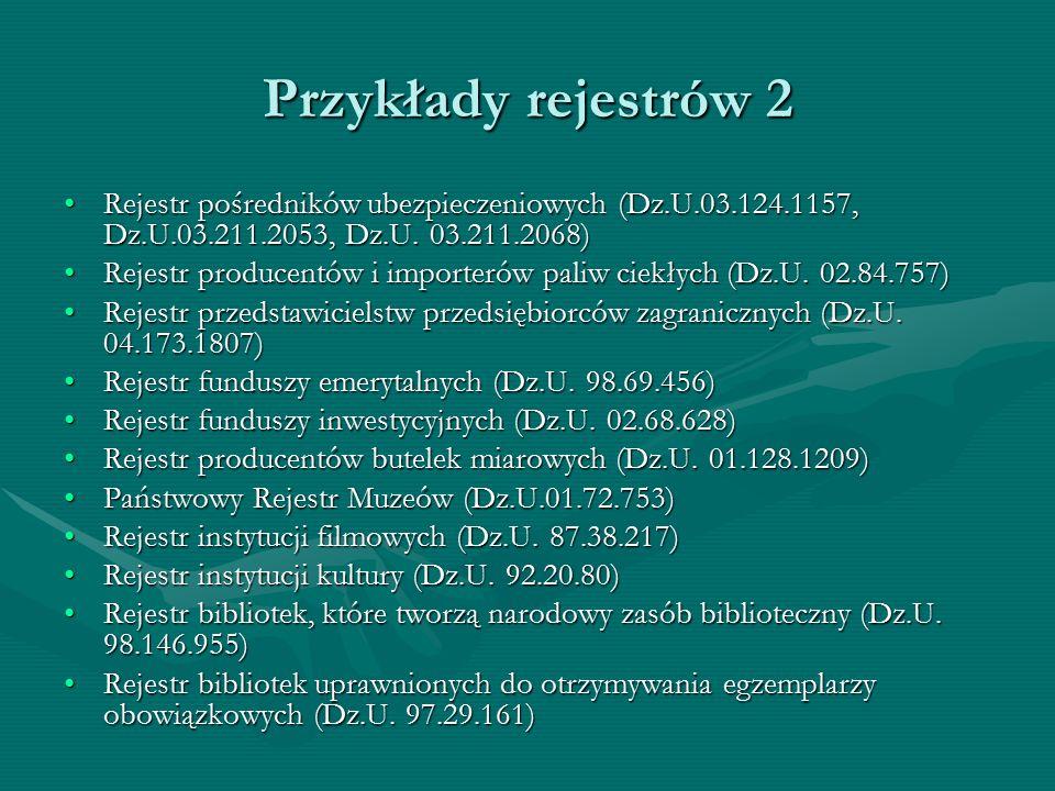 Przykłady rejestrów 2 Rejestr pośredników ubezpieczeniowych (Dz.U.03.124.1157, Dz.U.03.211.2053, Dz.U. 03.211.2068)Rejestr pośredników ubezpieczeniowy