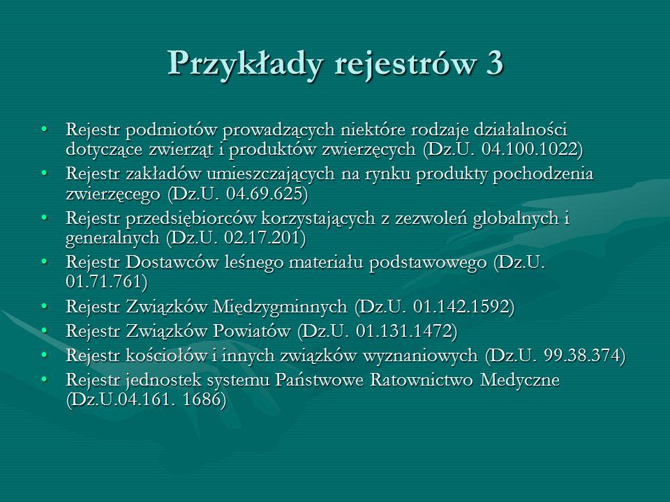 Przykłady rejestrów 3 Rejestr podmiotów prowadzących niektóre rodzaje działalności dotyczące zwierząt i produktów zwierzęcych (Dz.U. 04.100.1022)Rejes