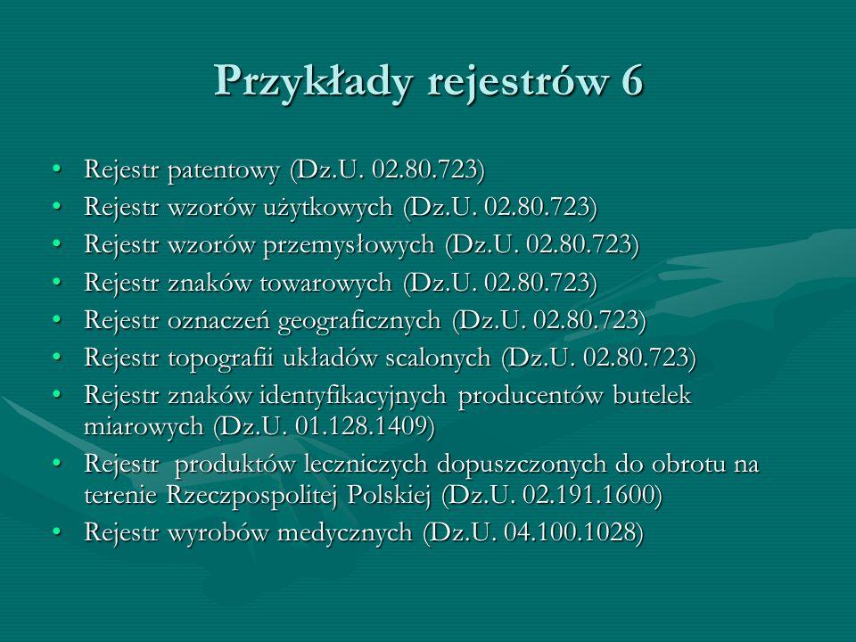 Przykłady rejestrów 6 Rejestr patentowy (Dz.U. 02.80.723)Rejestr patentowy (Dz.U. 02.80.723) Rejestr wzorów użytkowych (Dz.U. 02.80.723)Rejestr wzorów