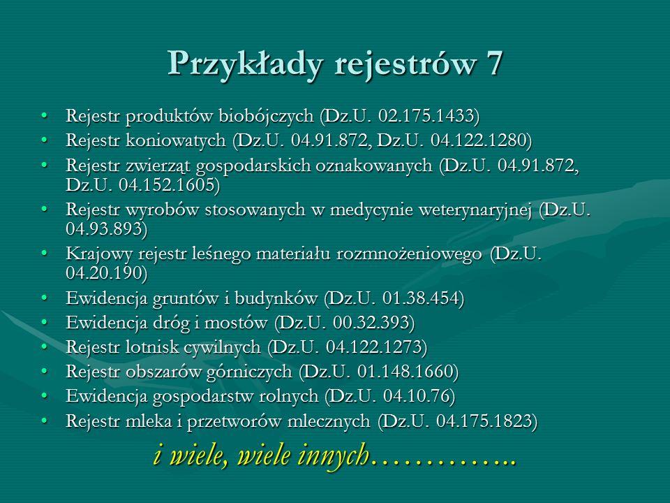 Przykłady rejestrów 7 Rejestr produktów biobójczych (Dz.U. 02.175.1433)Rejestr produktów biobójczych (Dz.U. 02.175.1433) Rejestr koniowatych (Dz.U. 04