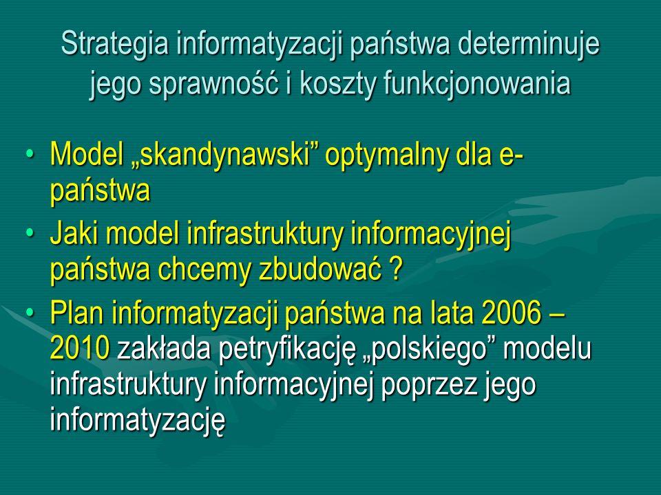 """Strategia informatyzacji państwa determinuje jego sprawność i koszty funkcjonowania Model """"skandynawski"""" optymalny dla e- państwaModel """"skandynawski"""""""
