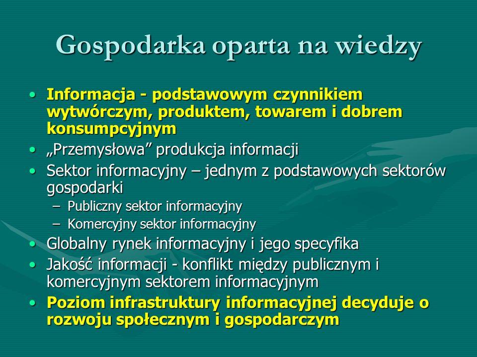 Gospodarka oparta na wiedzy Informacja - podstawowym czynnikiem wytwórczym, produktem, towarem i dobrem konsumpcyjnymInformacja - podstawowym czynniki