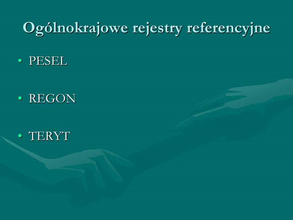 Ogólnokrajowe rejestry referencyjne PESELPESEL REGONREGON TERYTTERYT