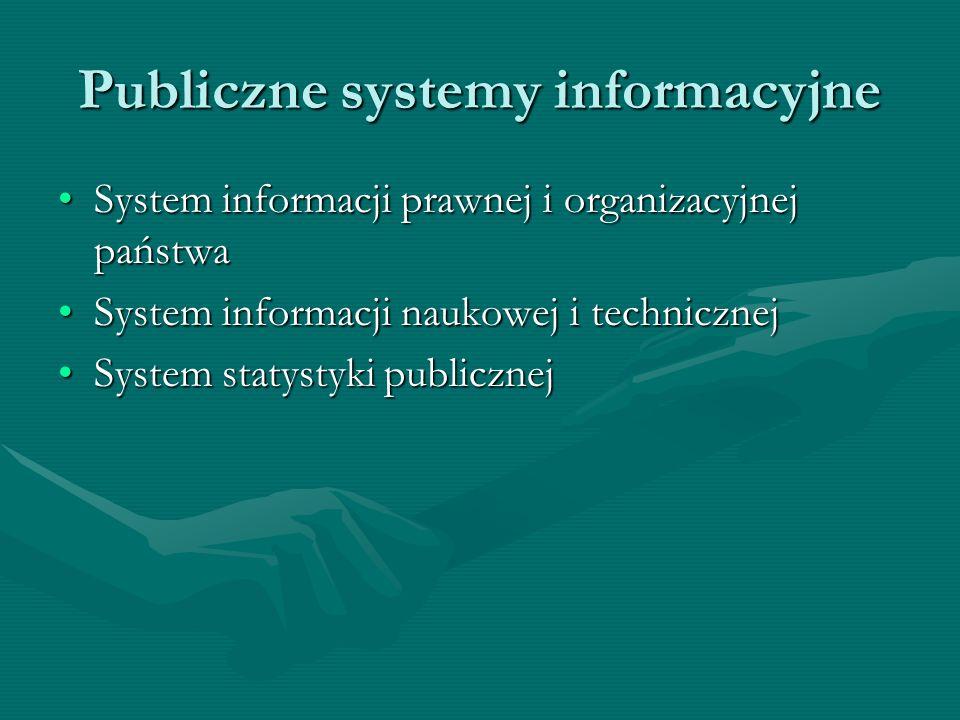 Publiczne systemy informacyjne System informacji prawnej i organizacyjnej państwaSystem informacji prawnej i organizacyjnej państwa System informacji